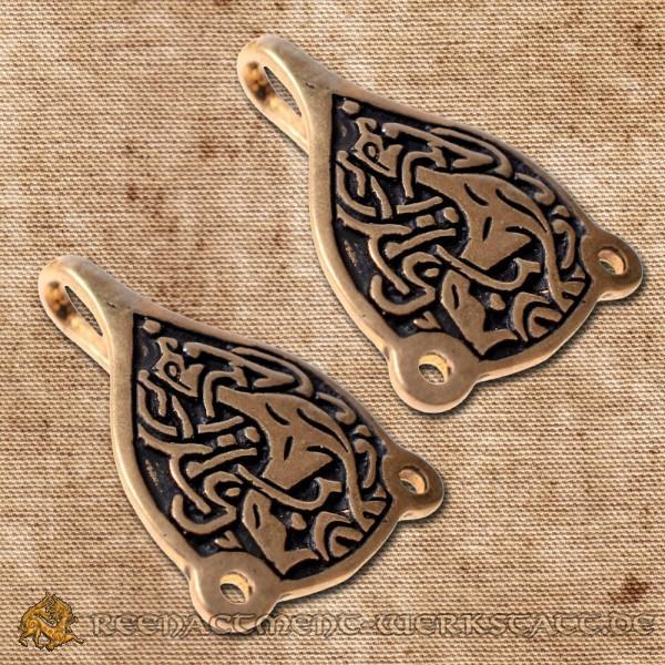 Paar Wadenwickel-Haken Trewhiddle Bronze