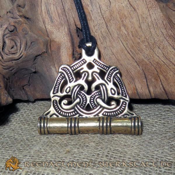 Wikinger Nadeldose im Jellingstil Bronze