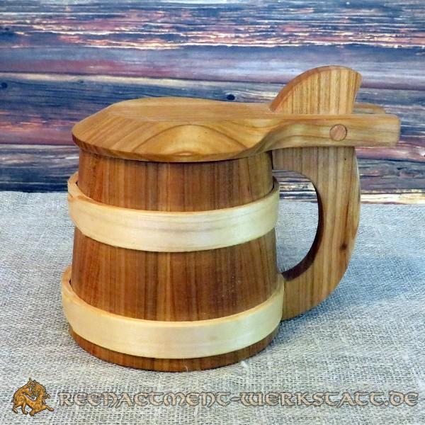 Holzkrug mit Deckel 0,5 Liter