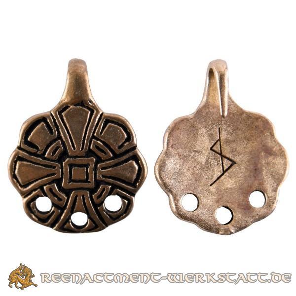 Paar angelsächsische Wadenwickel-Haken mit Kreuz, bronze