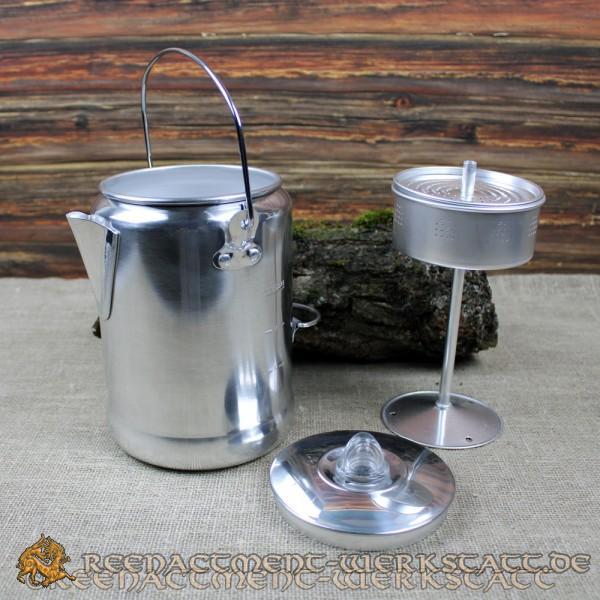 Kaffeekanne Edelstahl mit Perkolator für 9 Tassen
