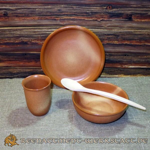 Ton-Keramik-Set 4-teilig gemustert