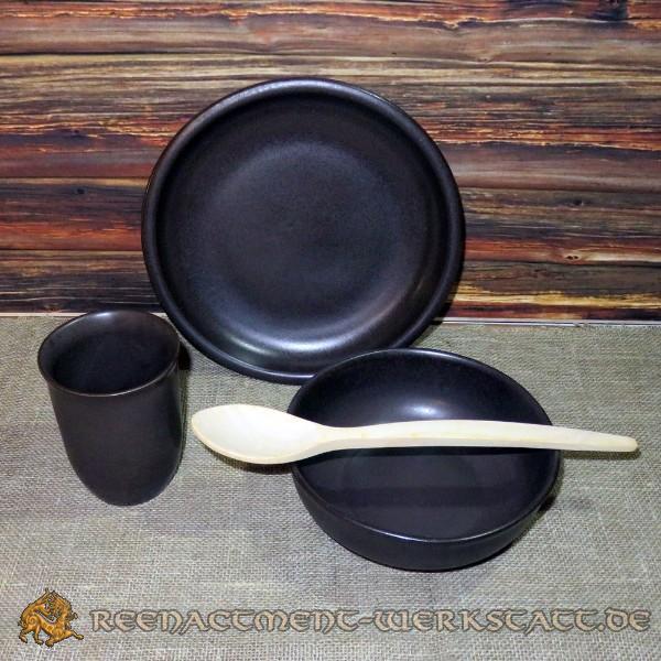 Ton-Keramik-Set 4-teilig dunkelbraun