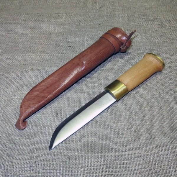 Einfaches Finnenmesser mit Lederscheide