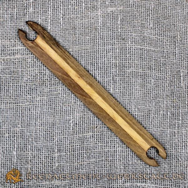 Webschiffchen aus dunkler Walnuss- und Oliven-Holz für Brettchenweben