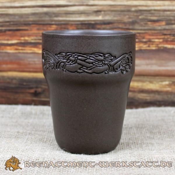 Keramik-Becher keltische Hunde aus Ton 0,25 Liter
